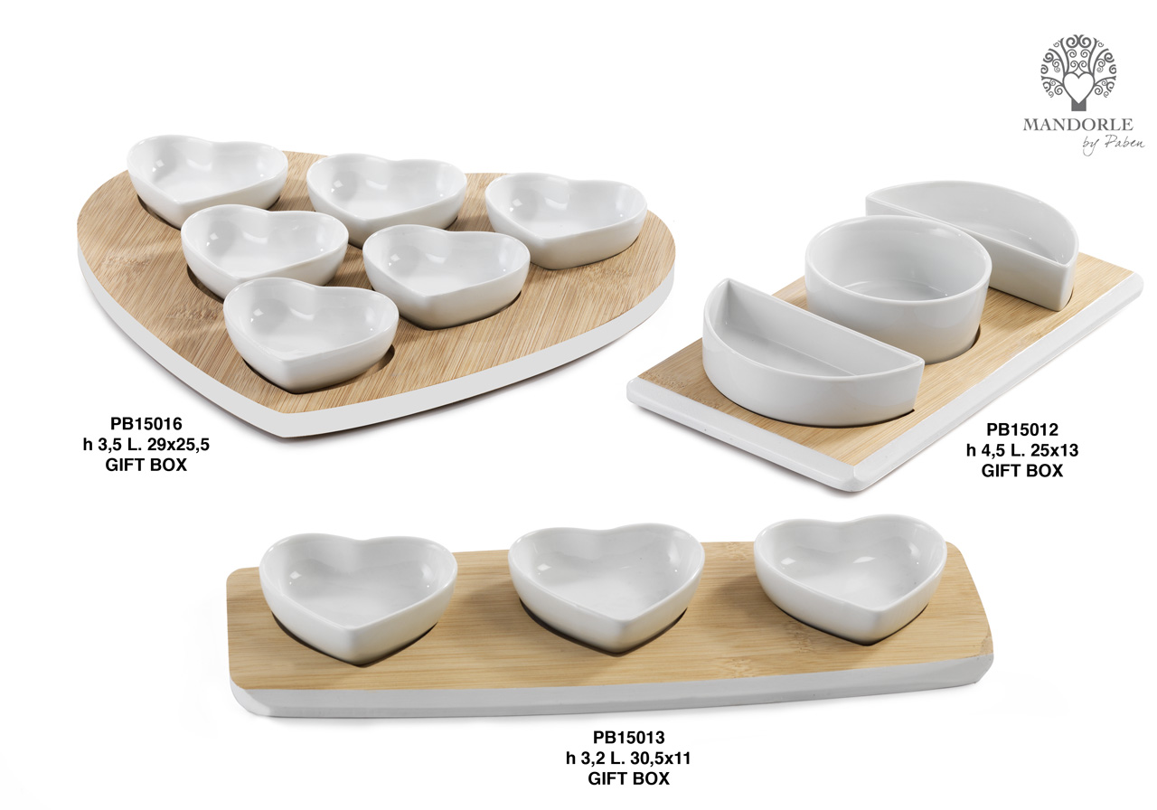 1A53 - Hors d'oeuvre-Chopping boards-Oil cruets - Mandorle Bonbonnieres - Offers - Paben